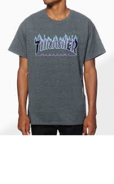 לצפייה במוצר THRASHER flame grey t-shirt